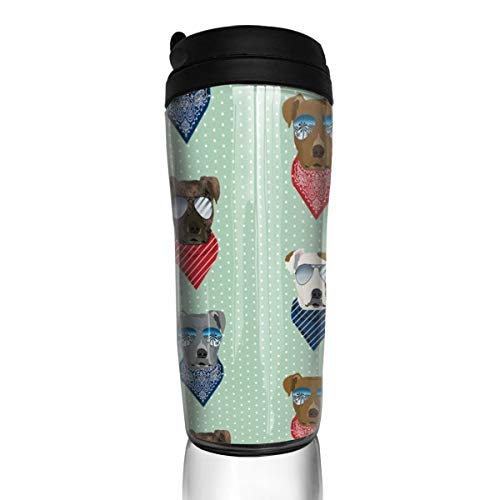 Pitbull 28634 Kaffeetasse mit Sonnenbrille, Sommer-Halstuch, Hunde-Rasse, 340 ml, auslaufsicher, mit Klappdeckel, Wasserflasche, umweltfreundliches Material ABS