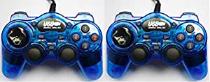 Kabalo 2 x Bleu USB Gamepad Joypad Gaming Controller pour PC sous Windows [2 x Blue USB Gamepad Joypad Gaming Controller for Windows PC]