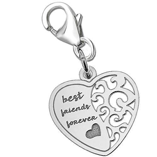 Charm Anhänger für Armbänder Bettelarmband + Geschenkbox freundschafts Herz beste Freunde Karabiner 925 Echt Silber Damen Sterlingsilber (K511o +V2) (Freundschaft Charm Armbänder)