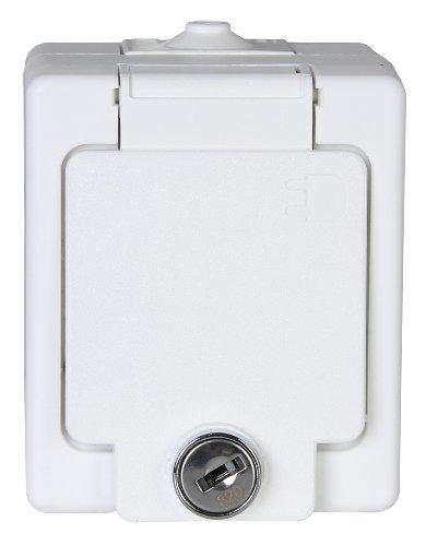 Kopp-105602008-Aufputz-Feuchtraum-Schutzkontakt-Steckdose-1-fach-mit-Klappdeckel-und-Sicherheitsschloss-IP-44-Standard