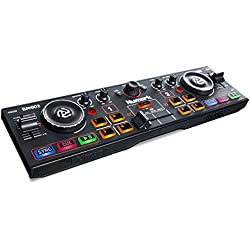 Numark DJ2GO2 - Ultra-Portable Two-Channel DJ Controller for Serato DJ Lite Featuring a Built-In Audio Interface with Headphone Cueing, Pad Performance Controls, Crossfader and Jogwheel