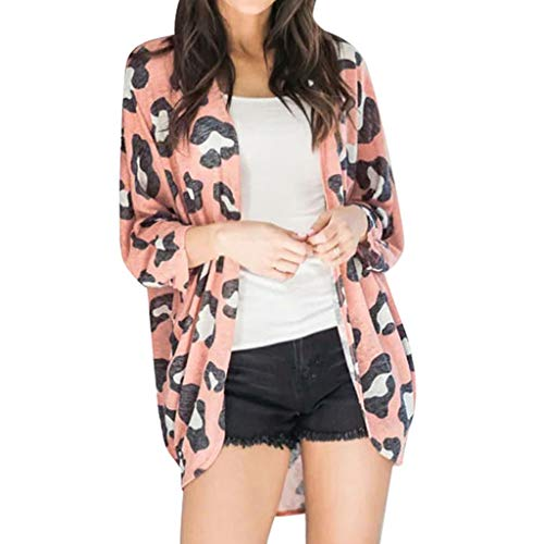 Ncenglings Damen Strickjacke Herbst Cardigan Sexy Leopard Kimono Mode Blumendruck Cover Up Elegant Schal Mantel Wintermantel Elegant Leichte Oberteile Casual Gemütlich Wild Langarmshirt Pullover Tops -