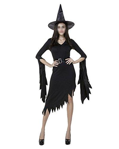 Hexen Kostüm Mit Hut Für Damen Karneval Halloween Cosplay Set Schwarz (Kostüme Hexe Ideen)