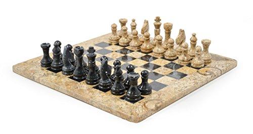 38,1 cm Marmor Chess Set Fossilstone & schwarzer marmor - Fossil Marmor