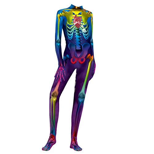 Trifycore Halloween-Kostüme Horror Schädel Skeleton Knochen-Bodysuits 3D-Druck Kostüm Stretch dünner Catsuit Overall Overall für Erwachsene 1pc - Für Erwachsenen Knochen Bodysuit Kostüm