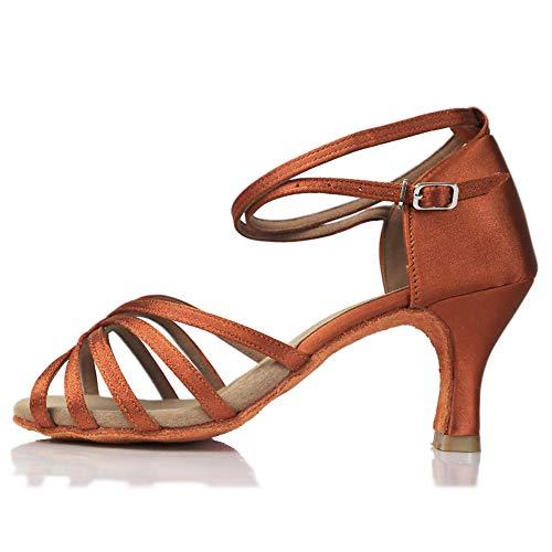 VASHCAME-Zapatos de Baile Latino de Tacón Alto/Medio para Mujer Beige 34 (Tacón-7cm)