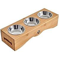 Yuncai Edelstahl Essen Wasser Fütterung Schüssel für Hunde Katzen Bambus Stent Haustier Dreifach Schüssel S