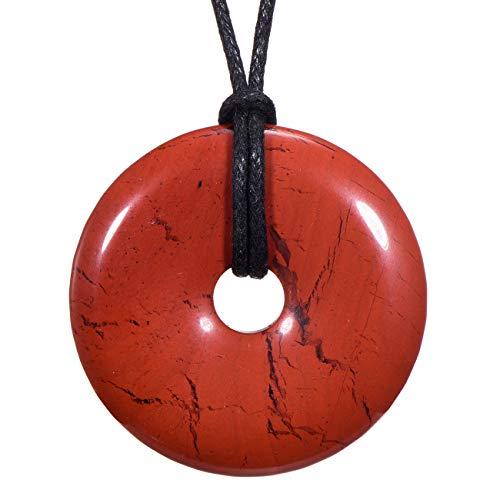Morella Damen Halskette 80 cm Donut Edelstein Anhänger roter Jaspis im Samtbeutel