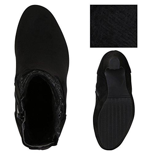 Stiefelparadies Damen Ankle Boots Gefütterte High Heels Stiefeletten Stiletto Strass Zipper Veloursleder-Optik Schuhe Fransen Schleifen Flandell Schwarz Carlton