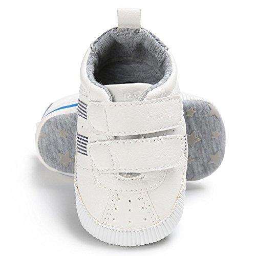 Juleya Scarpe da ginnastica antisdrucciolevole delle scarpe da ginnastica dei neonati appena nati bianca 0-6M grigio