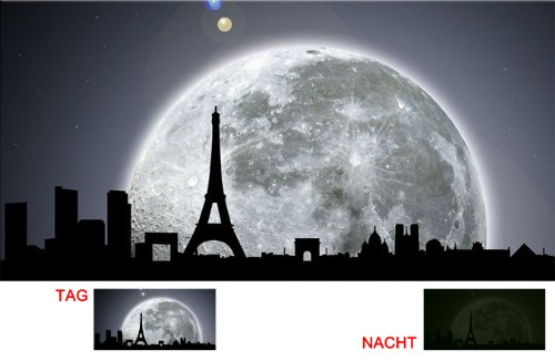 Startonight, luce nel buio Quadro su tela, Paesaggio, Parigi al chiaro di luna 60 cm x 120 cm