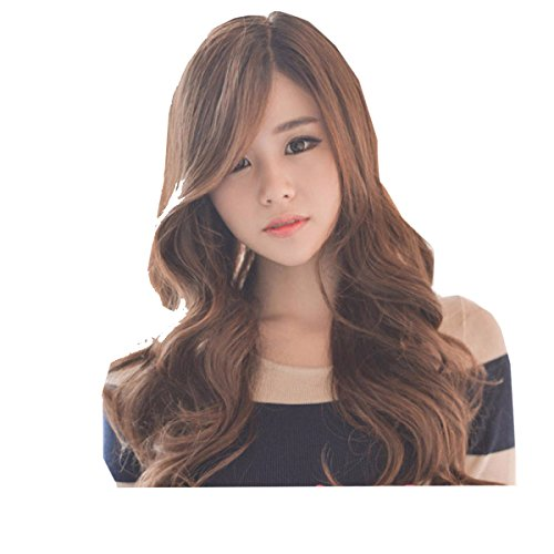 Snifgoij Big Wave Perruque Partielle Femelle Longs Cheveux Bouclés Natural Realistic Fluffy Long Wig Sets Modifiable Safe Stretch Resistant to Washing,A