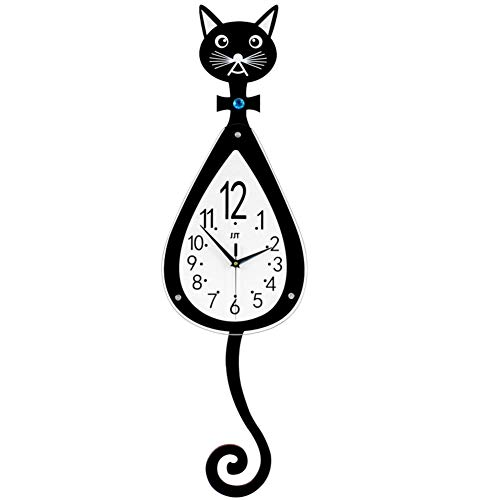 NgFTG Creativo Gato Reloj De Pared, Decoración del Hogar Colgar En La Pared Reloj De Cuarzo,silencioso...