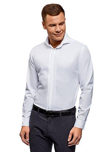 Oodji ultra uomo camicia attillata con polsini per gemelli, bianco, 39cm/it 44/eu 39/s