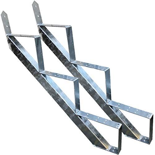 Treppenrahmen 3 stufig Stahl-Treppe Verzinkt Treppenholm Geschosshöhe 53cm