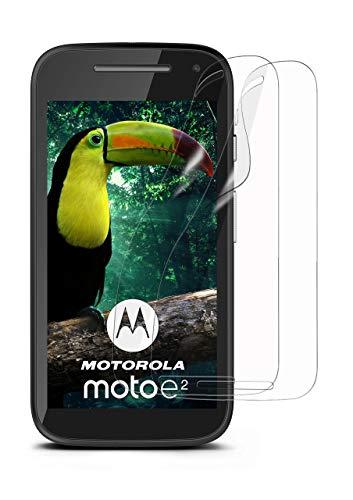 moex 2X Motorola Moto E2   Schutzfolie Klar Bildschirm Schutz [Crystal-Clear] Screen Protector Display Handy-Folie Dünn Bildschirmschutz-Folie für Motorola Moto E 2. Generation Bildschirmfolie