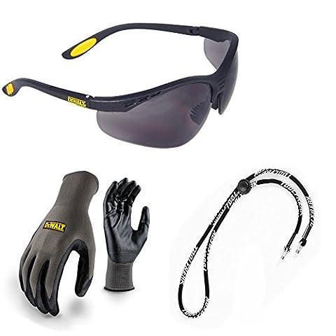 Dewalt Safety Glasses Reinforcer Smoke Lens with Dewalt Nitrile Grip Work Safety Gloves and Neck Cord bundle Deal x