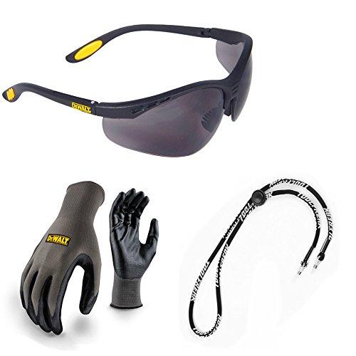 Dewalt-arbeits-handschuhe (Dewalt Schutzbrille Reinforcer Smoke Objektiv mit DEWALT Nitril Grip Arbeit Sicherheit Handschuhe und Halskordel Bundle Deal X 3)