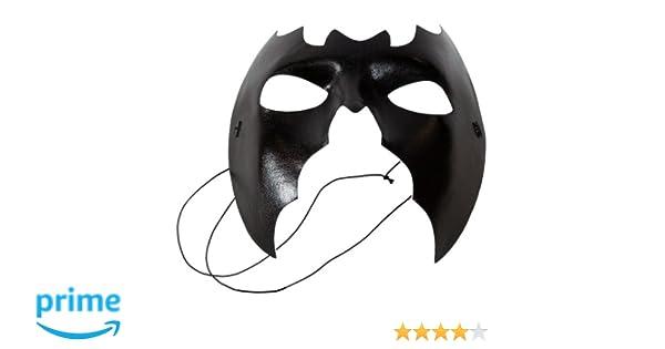 NET TOYS Maschera a Forma di Pipistrello Nera Nero Halloween Horror Carnevale Batman Occhi Faccia