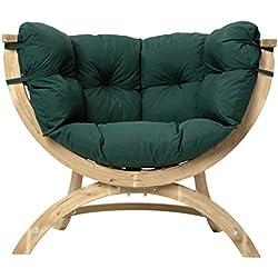 Amazonas Siena Uno- Sillón de madera de pícea de 118.5 cm de anchura y tapizado, color verde