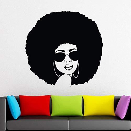 Ajcwhml Schöne Afrikanische Frau Vinyl Aufkleber Abnehmbare Wand Glas Fenster Dekor Aufkleber Aufkleber Wandbild Afro Haar Kunst Salon Decoraion 59 * 57 ()