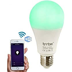 Lombex Intelligente W-LAN LED-Glühbirne mit Alexa und Google Home Steuerung Dimmbare Nacht-Glühbirne 60W RGBW Farbwechsel