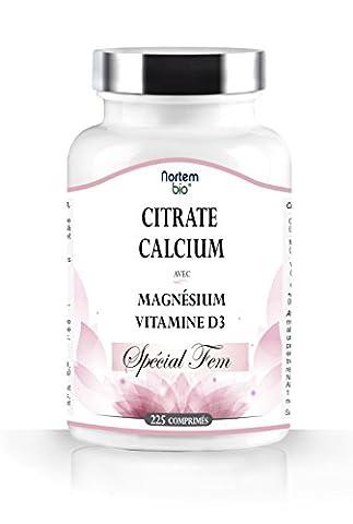 Citrate de Calcium, Magnésium et de la Vitamine D3. Spécial FEM. 100% Naturel. Excellente biodisponibilité, concentration élevée, de haute qualité. Nortembio. Produit CE. (225 comprimés).