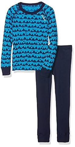 Odlo Kinder Set Warm Kids Shirt l/s Pants Long Unterwäsche/Sets Lang Ki, Blue Jewel/Peacoat/Allover Print,