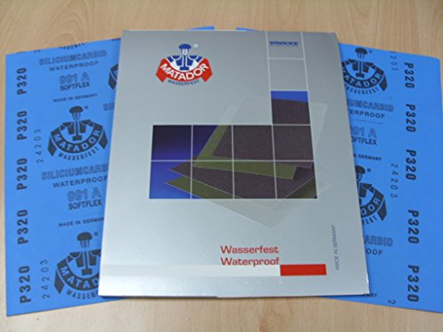 Starcke Matador Wet and dry sandpaper. A Weight 1 pack of 10 sheets 320 Grit
