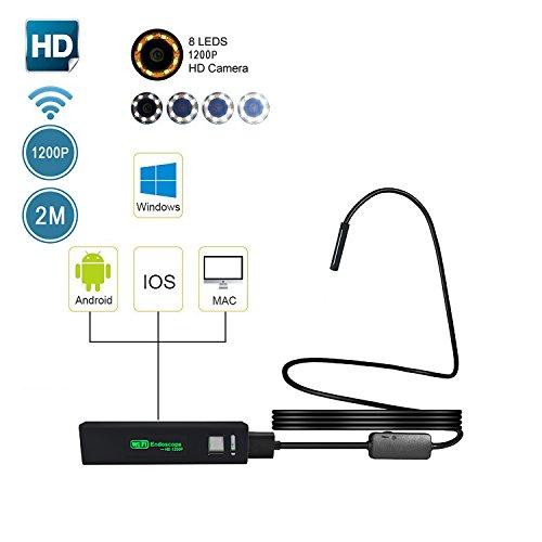 Preisvergleich Produktbild WIFI Endoskop, Umiwe Halbsteife Wasserdichte 1200HD Wifi Endoskope-Inspektions Kamera 2.0 Megapixel CMOS-Schlange-Kamera mit 8 justierbaren LED-Lichtern für Android, IOS, Windows and PC System (Schwarz-2m)