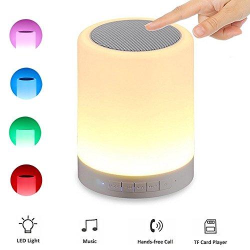 Kainuoa Altavoz Bluetooth + LED Lámpara de mesa Micrófono Dispositivo 6 Colores 3 Modos de Luminosidad para Leer en la Cama y Dormitorios de Niños.