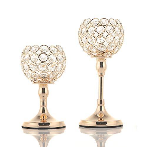 (VINCIGANT Gold Kristall Kerzenhalter Set 2 für Hochzeit Tisch Mittelstücke Home Dekor,20cm&25cm Höhe)