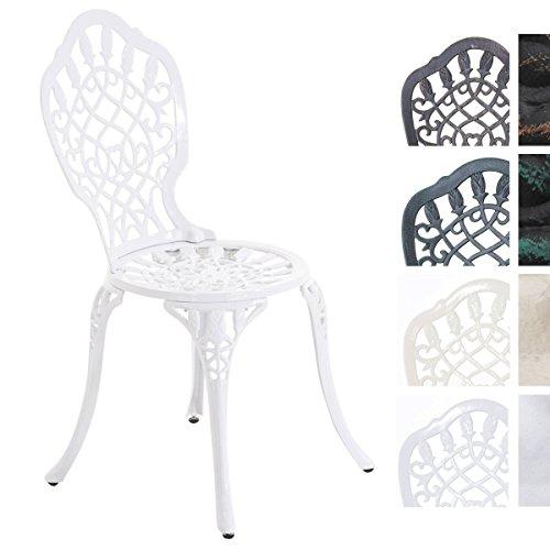 CLP Chaise de Jardin LAXMI en Fonte d'Aluminium au Design Antique, Meuble de Balcon au Piètement Stable à 4 Pieds, Fauteuil d'Extérieur Disponible en 4 Couleurs Différentes, Dossier Haut Blanc