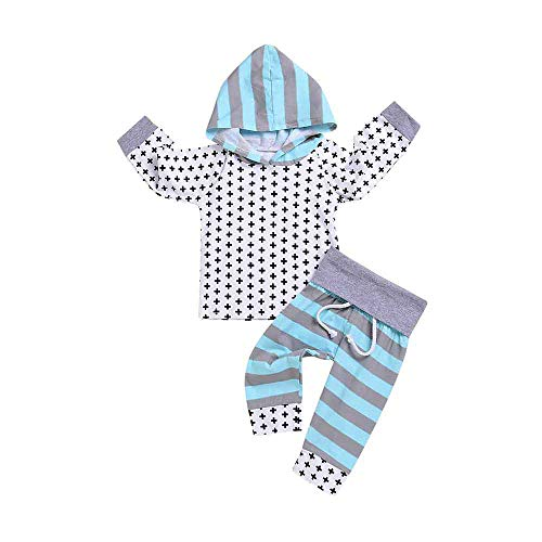 2PCS Toddler Baby Infant Stripe Print Hooded Top Clothes+Long Pants Set Outfit