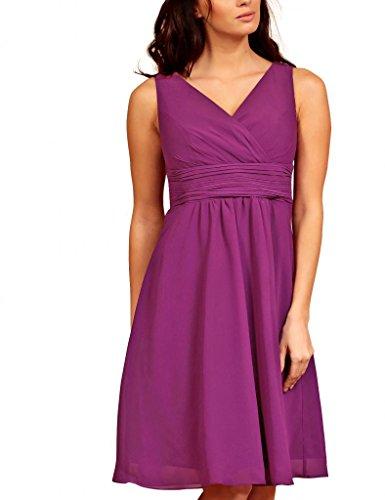 My Evening Dress- Robe de Soirée Col en V en Mousseline de Soie pour Cocktail et Fête Violet - Magenta