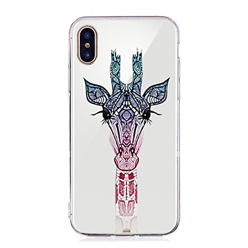 Inonler custodia Giraffa carina, il collo animale più lungo dellAfrica, silicone TPU trasparente e morbido disegnoper il iPhone X, Custodia Viola Viola