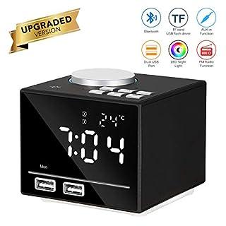 ABEDOE Bluetooth Speaker Alarm Clock, Digital Alarm Clock Bluetooth Speaker with Dual Port USB Charger, 3.2