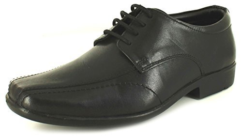 New Boys Black Leather Lace Formal Shoes Suitable School Wedding Party - Black - UK SIZE 3