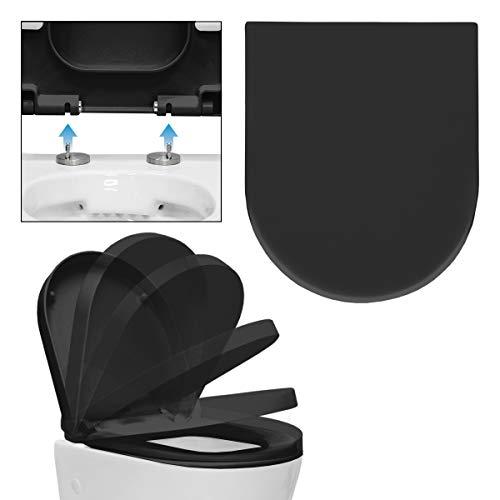 ECD Germany Premium Duroplast Toilettendeckel mit Soft-Close Absenkautomatik Schwarz WC Deckel Abnehmbar Antibakterielle Beschichtung -