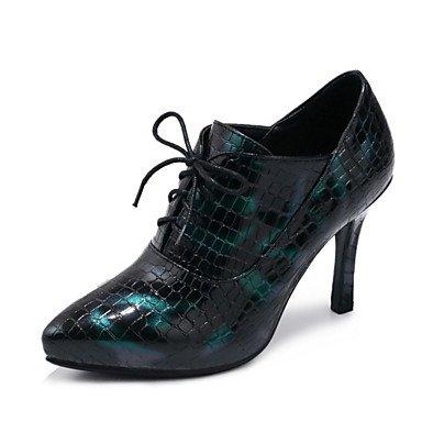 SANMULYH Scarpe Donna Caduta In Similpelle Novità Tacchi Stiletto Heel Punta Lace-Up Per Abiti Da Sposa Vino Nero Verde Verde