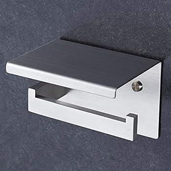 toilettenpapierhalter edelstahl mit glas ablage ohne. Black Bedroom Furniture Sets. Home Design Ideas