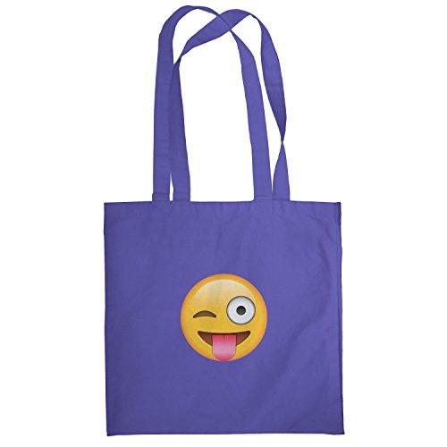 Texlab–Tongue Out Emoji–sacchetto di stoffa Marine