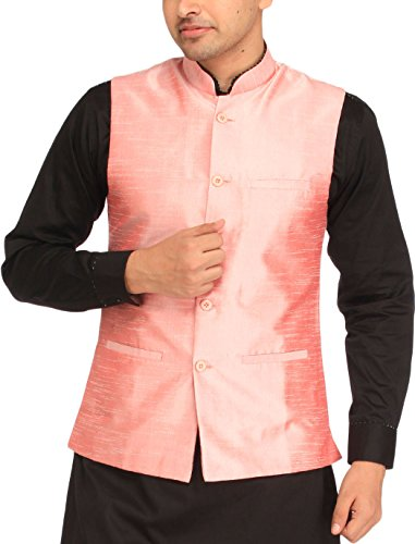 Exotic India Men's Plain Wedding Waistcoat with Front Pockets - Color Strawberry...