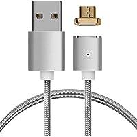 kwmobile Cable de carga magnético microUSB - Cable de nylon de micro USB a USB A - Cable USB de sincronización para Smartphone tablet en plateado