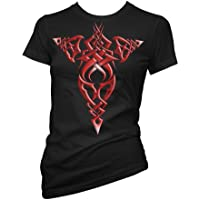 Fantasy Celtic Cross 701418-Maglietta da donna, colore: rosso