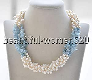 Z8903 4Strds White Rice Freshwater Pearl Aquamarine Detritus Necklace 18inch