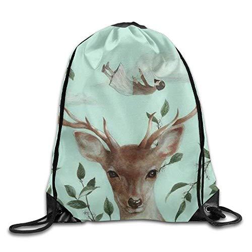 False warm warm Elk Art Drawstring Backpack Rucksack Shoulder Bags Training Gym Sack for Man and Women - Roxy Rolling Rucksack