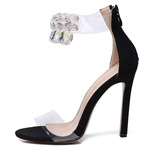 Clear PVC Transparent Pumps Sandals Womens Thin Heel Stilettos 11.5cm High Heels Party Shoes Pump Big Size Black 9