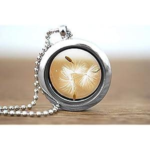 Echte Pusteblume Silberne Medaillon Kette