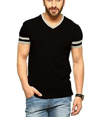 Tripr Men's V-Neck Tshirt Black (X-Large)